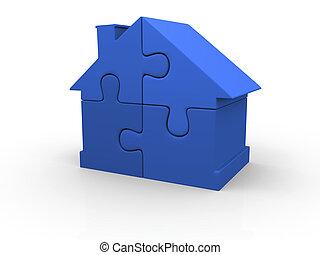 Blue puzzle house