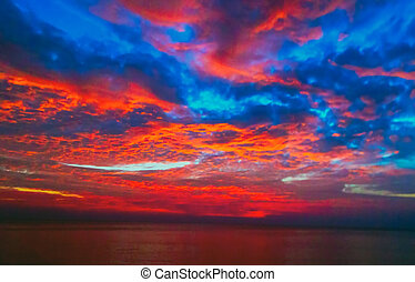 Blue sea and sun Beautiful sky sunrise