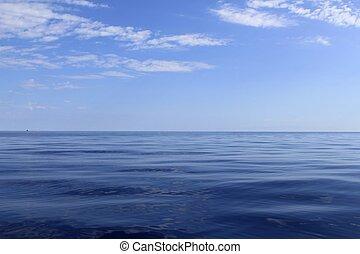 blue sea horizon ocean perfect in calm sunny day mediterranean
