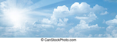 Blue skies with bright sun as abstract backgrounds
