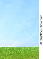 Blue Sky Green Grass Vertical Background