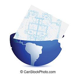 blueprints and globe illustration
