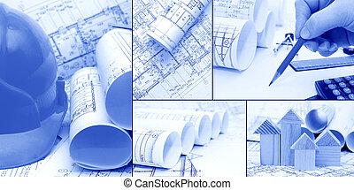 blueprints, construction - a collage as the concept of construction