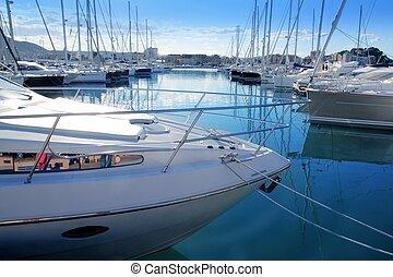 Boat mediterranean marina in Denia Alicante Spain
