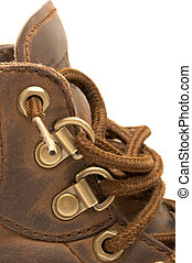 Close up of a steel-toed leather work boot
