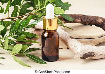 Bottle of cosmetics on a natural beige background.