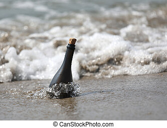 bottle of glass on the sea