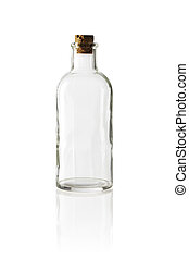 Old fashioned glass bottle with cork stopper.