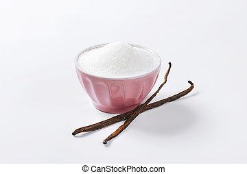 Bowl of sugar and vanilla beans