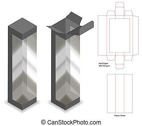 box with plastic window mockup with dieline