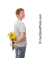 boy with a bouquet of flowers