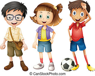 Illustration of boys and a girl standing on a white background