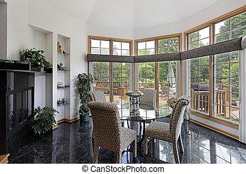 Breakfast room with wall of windows