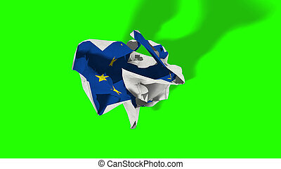 brexit, rolling crumpled paper with european flag, schengen eurozone crisis, chroma key green screen