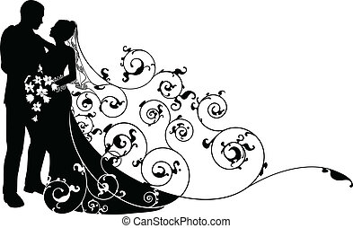 Bride and groom looking into each others eyes abstract background pattern silhouette