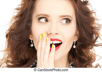 bright picture of happy woman with expression of surprise
