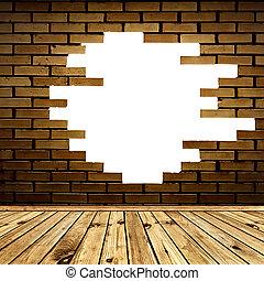 broken brick wall in the room