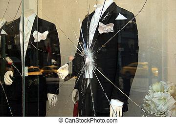 Broken shop-window