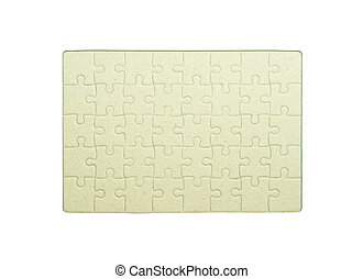 Brown cardboard frame for jigsaw or puzzle on white background.