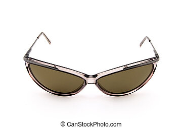 Brown sunglasses on white background
