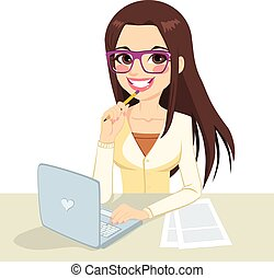 Beautiful pensive brunette office secretary woman wearing glasses typing on her computer and holding a pencil on her hand