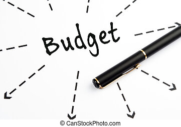 Budget word wih arrows and pen