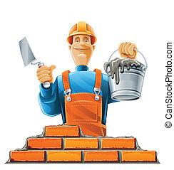 builder in helmet vector illustration isolated on white background