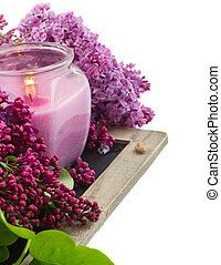 Bunch of Lilac in jar close up