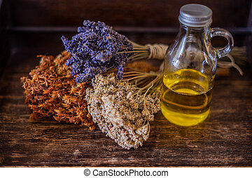 Bunches of medicinal herbs and flowers. Herbal medicine