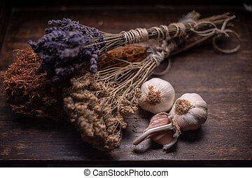 Bunches of medicinal herbs and flowers with garlic. Herbal medicine