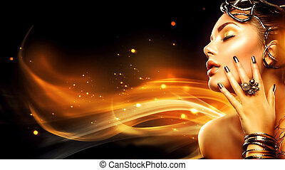 Burning woman head profile. Beauty fashion model girl with golden makeup