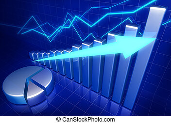 Business financial growth concept 3d illustration