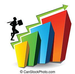 Illustrative representation showing rise in stock market