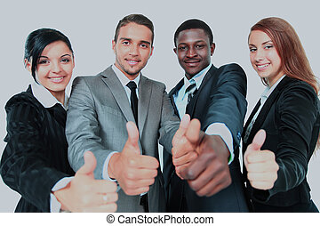 Business group with thumbs up isolated over white background.