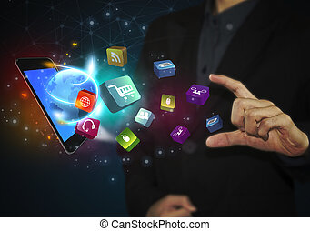 business hand touching tablet with social media icons and communication concept.