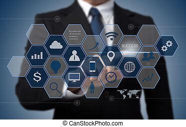 business man working with modern computer interface as information technology concept