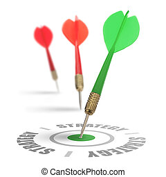 three darts on a white background, concept for success and reach a target, one dart reach it's target