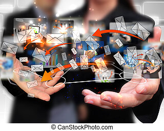 Business people holding social network