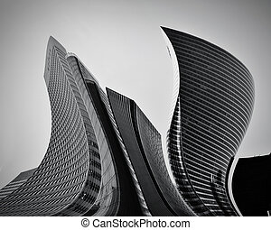 Business skyscrapers abstract conceptual architecture in black and white