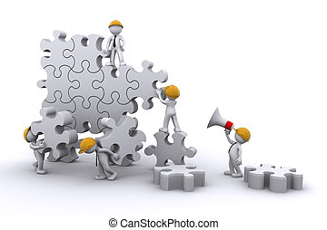 business team work building a puzzle. Business developing concept. Isolated