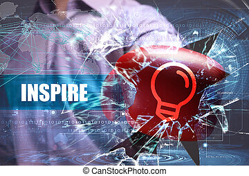 Business, Technology, Internet and network security. inspire