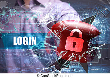 Business, Technology, Internet and network security. Login
