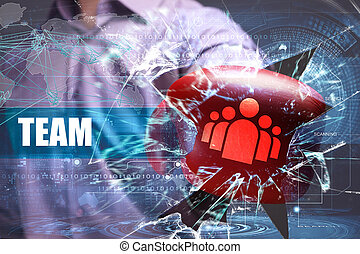 Business, Technology, Internet and network security. team