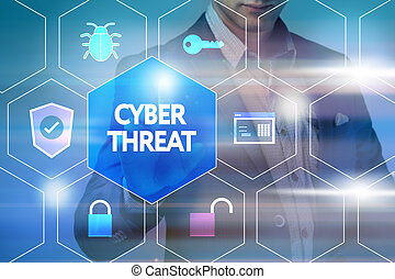 Business, technology, internet and networking concept. Businessman presses a button on the virtual screen: Cyber threat