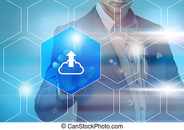 business, technology, internet and networking concept - businessman pressing cloud service button on virtual screens