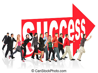 business themed collage, people run to success following the arrow sign