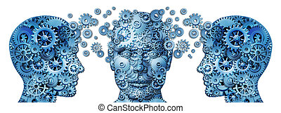 Business training and corporate management education programs symbol with human heads made of gears and cogs exchanging ideas and knowledge to train and educate the mind for career success on a white background,