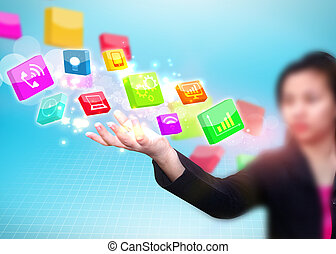 Business woman holding social media icon