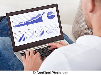 Over the shoulder view of the screen of a businessman analyzing graphs on his laptop