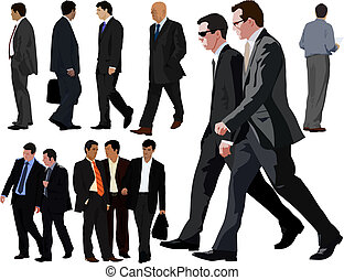 Businessman vector realistic illustration collection.